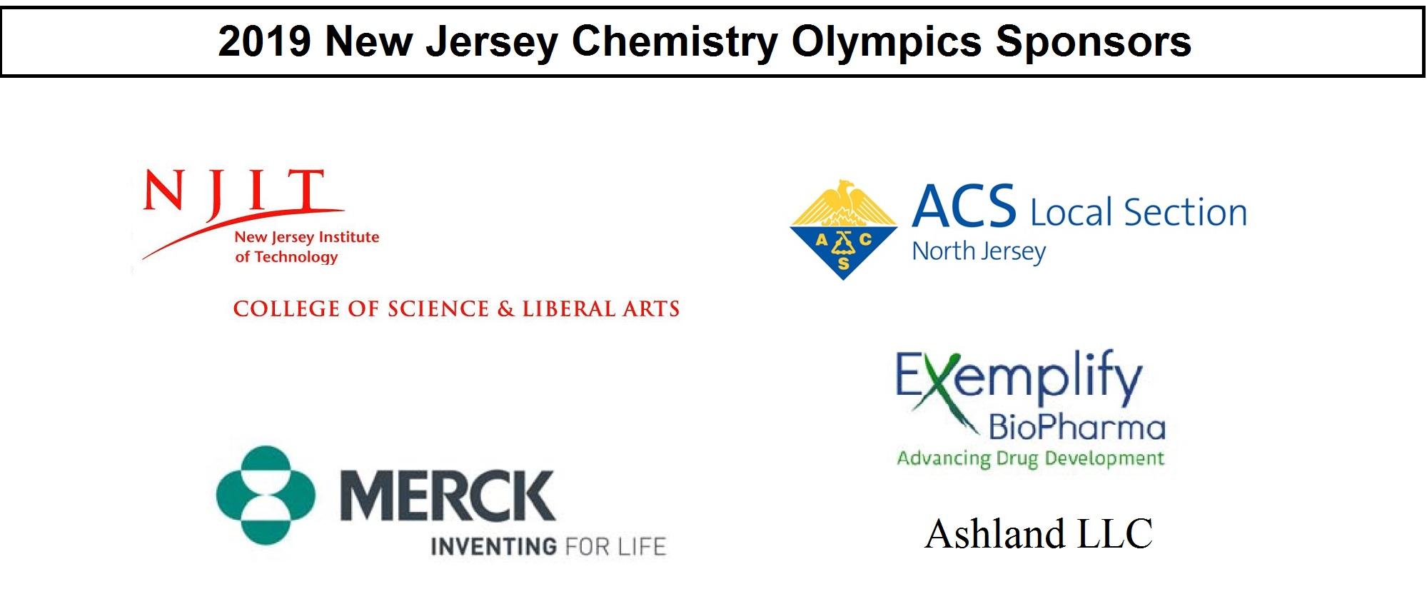 2019 NJCO sponsors - NJIT, ACS, Merck, Exemplify, Ashland